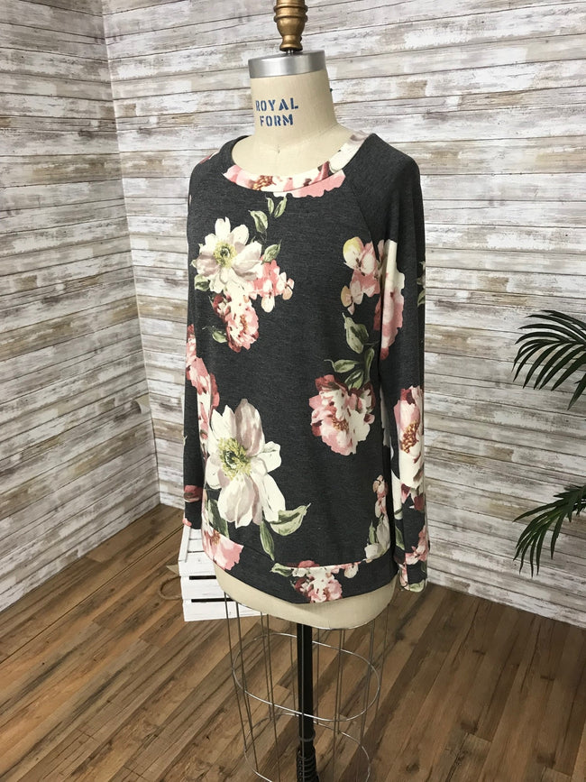 All The Feels Floral Top in Charcoal - MIA Boutique LLC