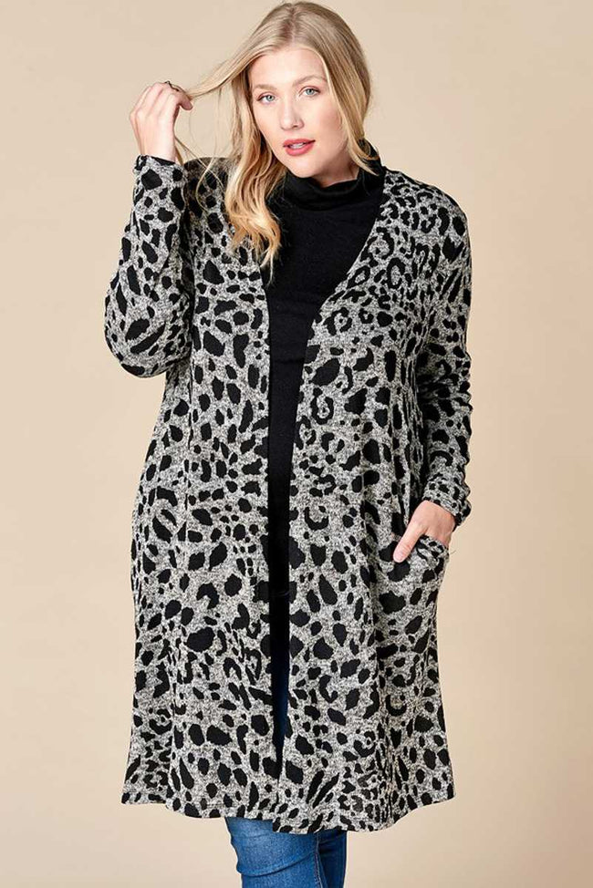 Go Bold Animal Print Duster Cardigan in Black - Curvy