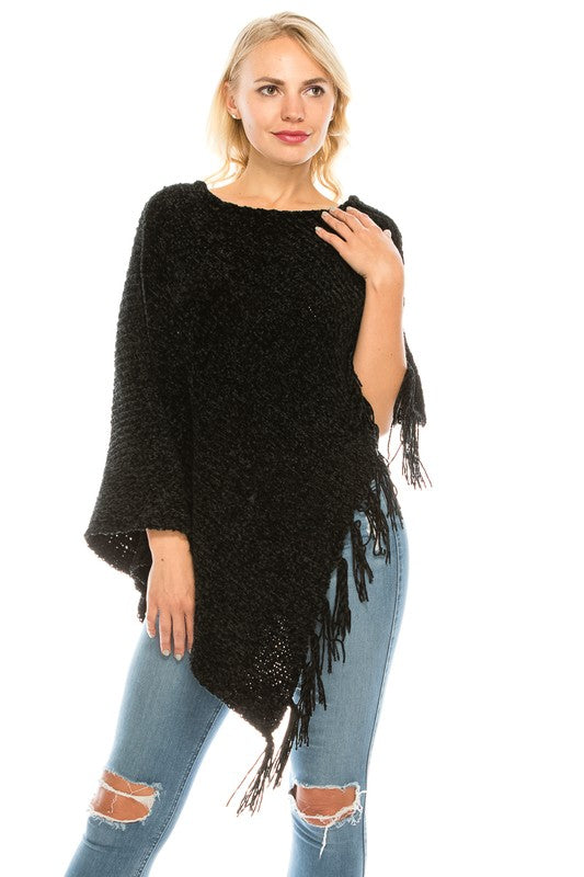Crushing It Chenille Poncho in Black
