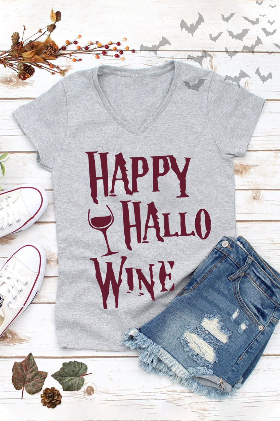 Happy Hallow-Wine Graphic Tee in Heather Grey