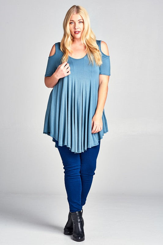 Girl on the Go Tunic in Blue Sage - Curvy - MIA Boutique LLC