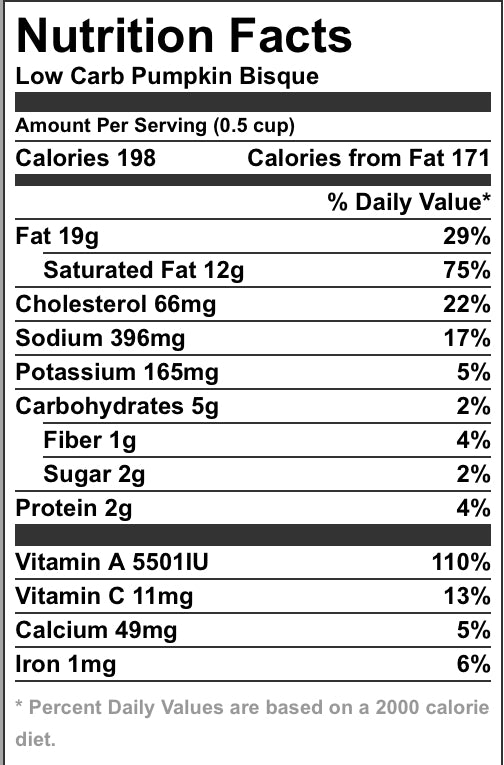 Pumpkin Bisque Nutrition Facts