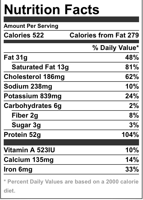 Beef Bolognese Nutrition Facts