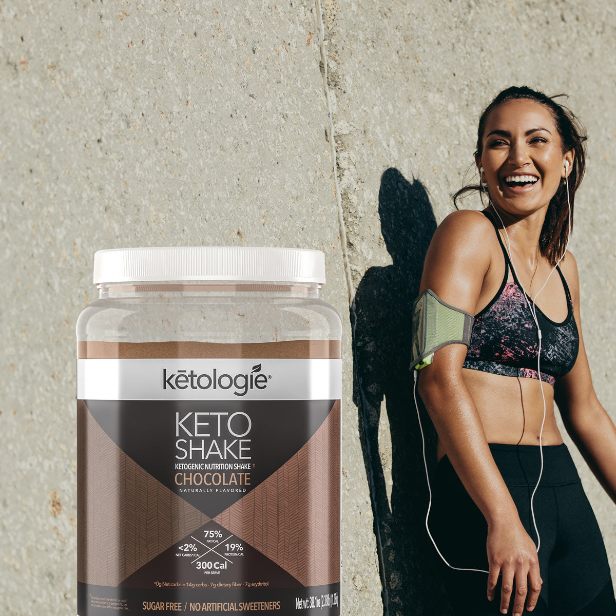 fitness woman next to a ketologie keto shake bottle