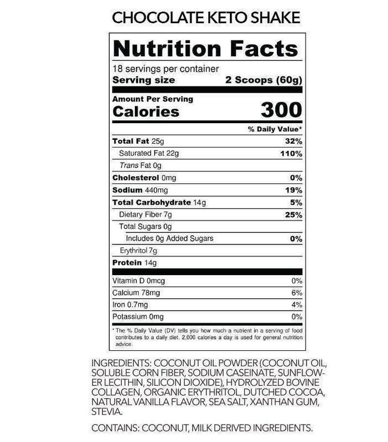 nutritionfacts from chocolate keto shake by ketologie