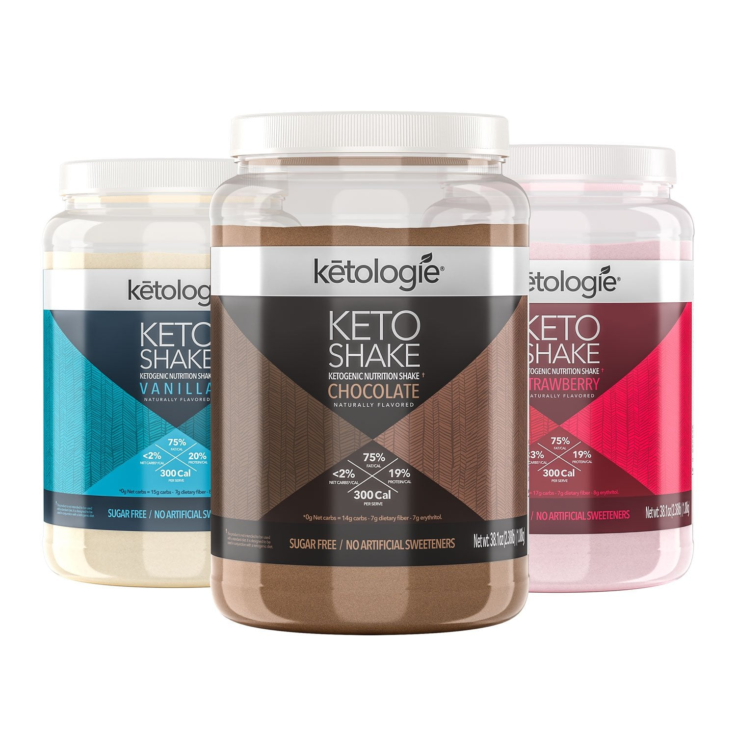 three bottles of keto shake by ketologie