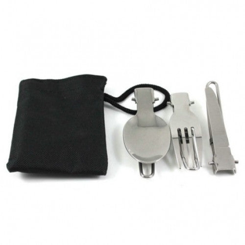 Silver Stainless Steel Foldable Fork Spoon Knife Set