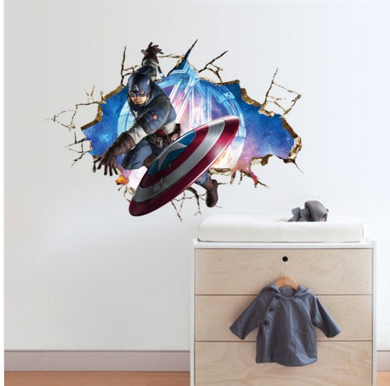 Avengers 3D Through Wall Stickers Decals