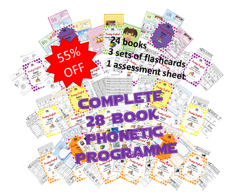 COMPLETE Phonics Programme (24 books, 3 flashcard sets, and student assessment) - Download