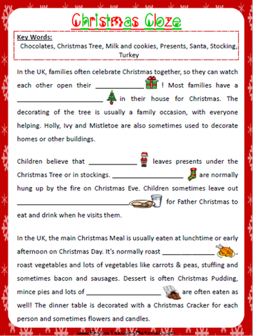Christmas Cloze Worksheet | Free - Download