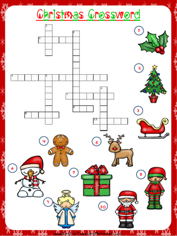 Christmas Crossword Worksheet | Free