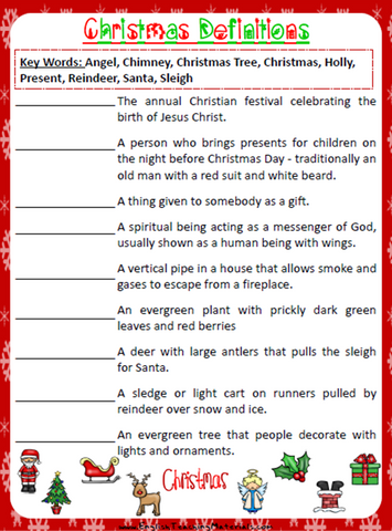 Christmas Definitions Worksheet | Free