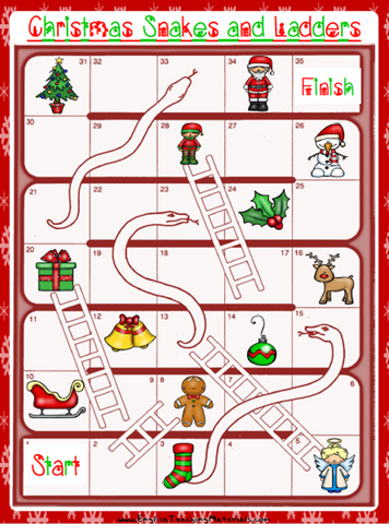 Christmas Snakes and Ladders Worksheet | Free