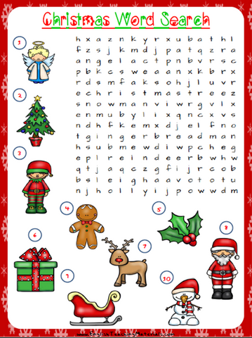Christmas Word Search Worksheet | Free