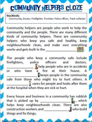 Community Helpers Cloze Worksheet - Download
