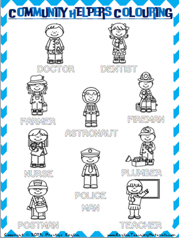 Community Helpers Colouring Worksheet - Download