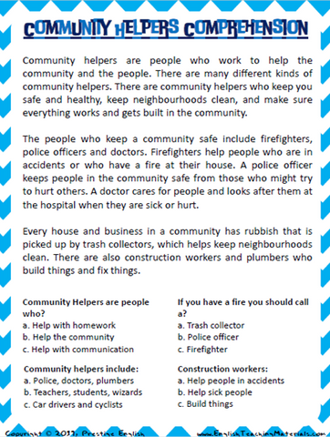 Community Helpers Comprehension Worksheet - Download