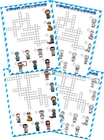 Community Helpers Crossword Worksheet - Download