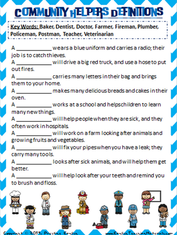 Community Helpers Definitions Worksheet