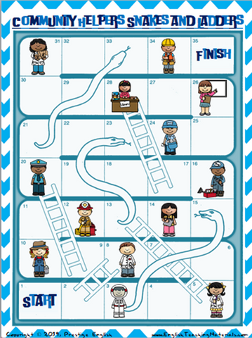 Community Helpers Snakes & Ladders Worksheet - Download