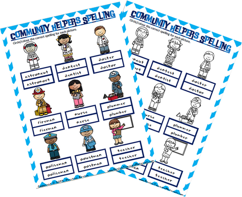 Community Helpers Spelling Worksheet - Download
