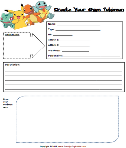 Create Your Own Pokemon - FREE Worksheet - Download