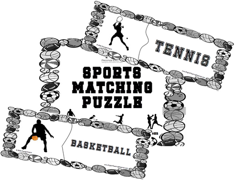 Matching Puzzle - Sports (B&W) - Download
