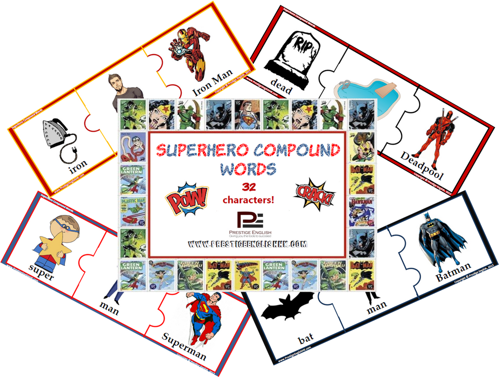 Compound Word Game / Puzzle - SUPERHEROES