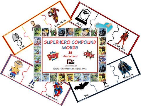 Compound Word Game / Puzzle - SUPERHEROES - Download