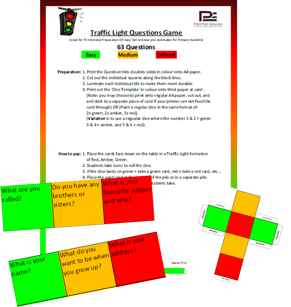 Traffic Light Game - TALKING ACTIVITY/PRIMARY SCHOOL INTERVIEW PREPARATION