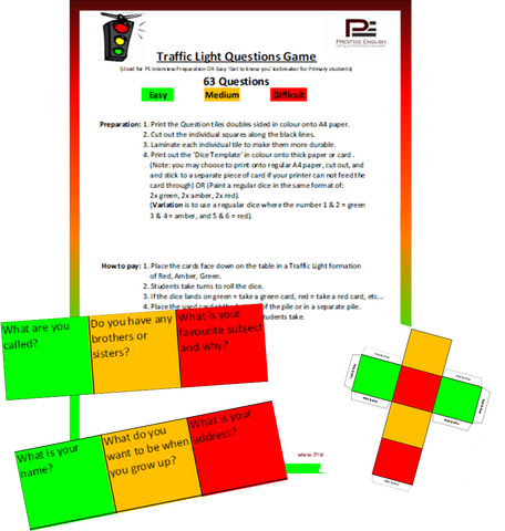 Traffic Light Game - TALKING ACTIVITY/PRIMARY SCHOOL INTERVIEW PREPARATION - Download