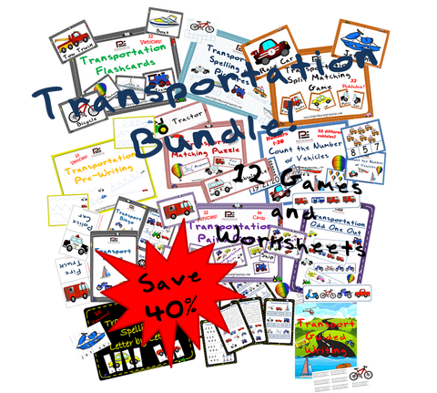 Complete TRANSPORTATION Bundle | Games & Worksheets - Download