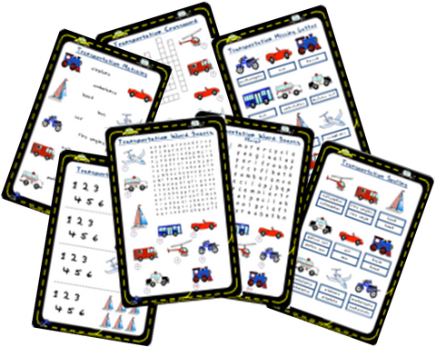 Transportation Worksheets | Word Search, Crossword, Matching and more