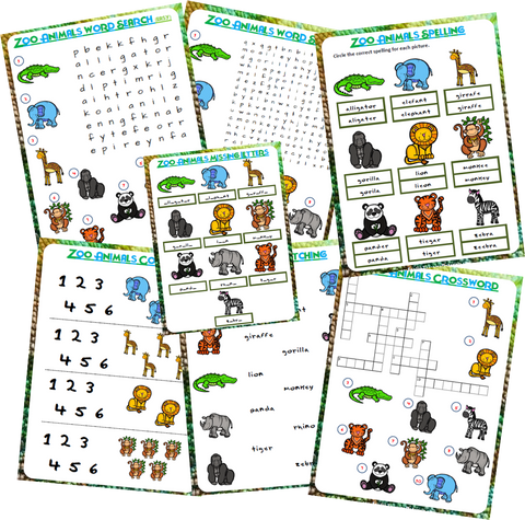 Zoo Animals Worksheets - Download