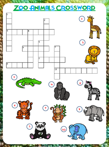 Zoo Animals Crossword | Free Worksheet