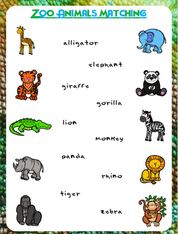 Zoo Animals Matching | Free Worksheet - Download