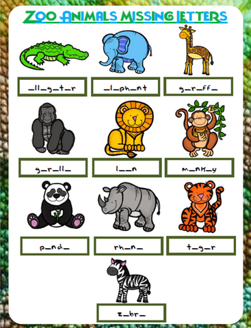 Zoo Animals Missing Letters | Free Worksheet