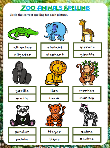 Zoo Animals Spelling | Free Worksheet - Download