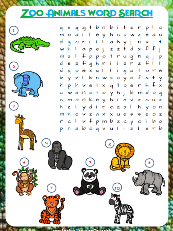 zoo animals word search free worksheet prestige. Black Bedroom Furniture Sets. Home Design Ideas