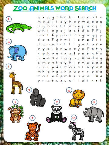 Zoo Animals Word Search | Free Worksheets - Download