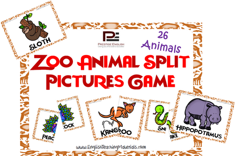 Zoo Animals Split Pictures (Matching Game) - Download