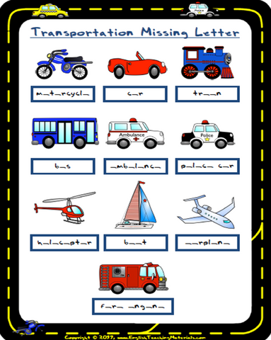 Transportation Missing Letters | FREE Worksheet - Download