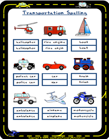 Transportation Spelling | FREE Worksheet