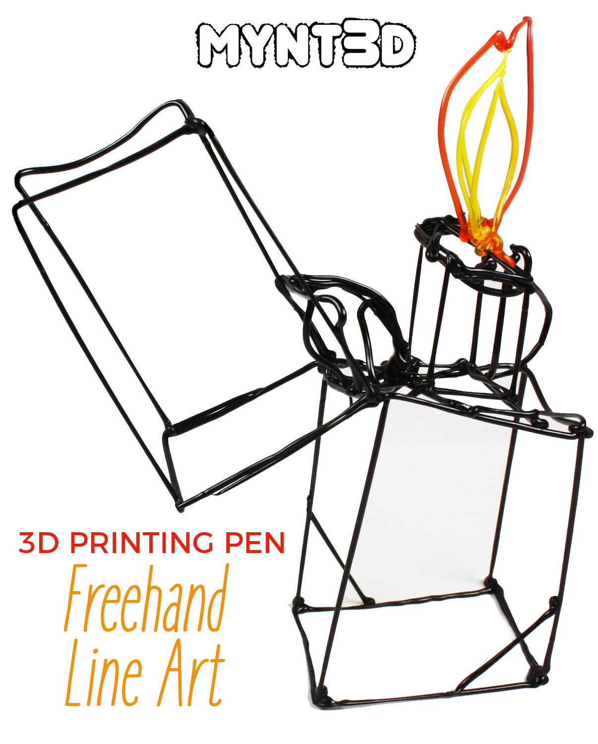 3D Drawing Pen Demo: Light Bulb, Camera, Lighter Line Art