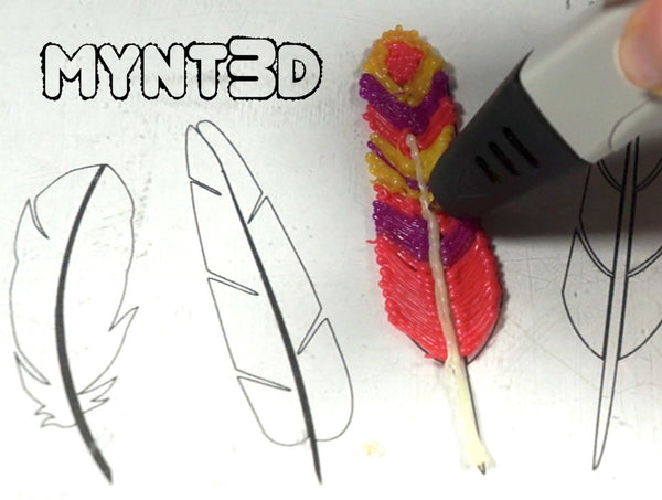3D printing pen feathers for a Thanksgiving Turkey or all by themselves. Learn how to make 3D art with the help of a free downloadable printable template from MYNT3D