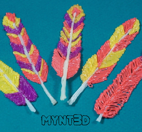 Create colorful DIY feather designs with a 3D printing pen. Get the free printable template from MYNT3D. Make beautiful holiday decorations for Fall, Thanksgiving and Easter. Best kids craft for learning to make art with a 3D pen.