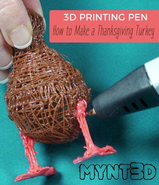 How to Make a Thanksgiving turkey decoration with a 3D printing pen | Craft Project includes colorful feathers, constructing 2D shapes into 3D parts, forming hollow 3-dimension structures all to make adorable holiday decor