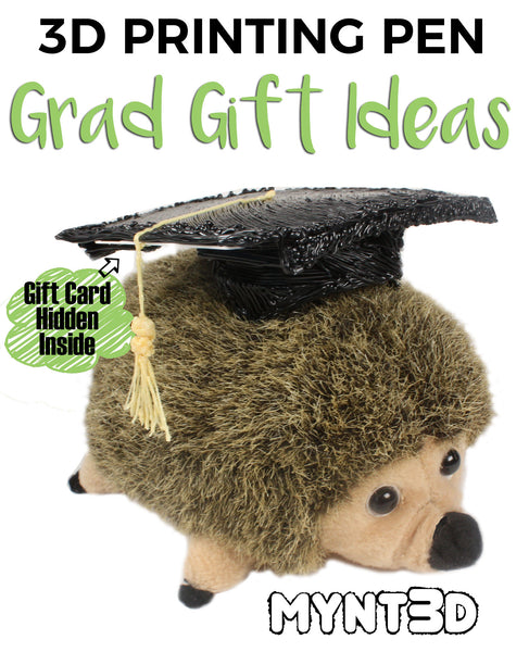 Graduation gift ideas | Mony holders and decorations for grads made with a 3D printing pen get the free printable templates from MYNT3D | Grammar school middle school high school college appropriate