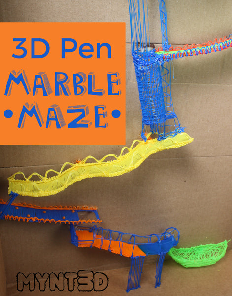 DIY Marble run maze made with a 3D printing pen. Free printable templates to create an engineering challenge for STEM, STEAM classroom activities for kids