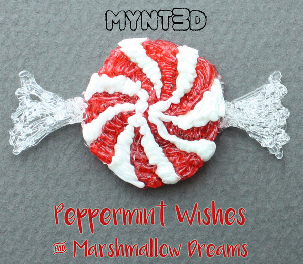 3D printing pen holiday project DIY peppermint candy for decorating, gift wrapping and handmade ornaments made with transparent filament and MYNT3D printing pen | Learn how with the full instructions and video tutorial and free printable template from MYNT3D